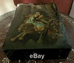 Large Vintage Russian Black Lacquer Box Fedoskino hand painted