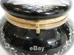 Late Victorian Mary Gregory Hand-Painted Black Art Glass Footed Box 4 High