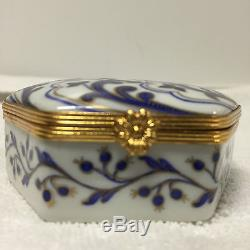 Le Tallec Limoges Tiffany Private Stock Hexagon Trinket Box Hand Painted