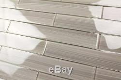 Light Gray 2x12 Hand Painted Subway Glass Tile Kitchen for ...