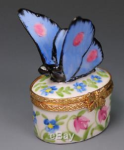 Limoges LAURE SELIGNAC Blue Butterfly Hand Painted Porcelain Box Scully Scully