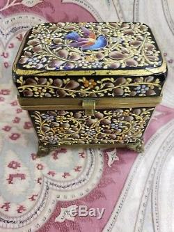 Lovely Antique Bohemian Moser Czech Hand Enameled Amethyst