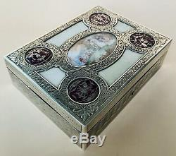 Lovely Large French Solid Silver Enamel & Hand Painted Jewellery Box Paris C1920