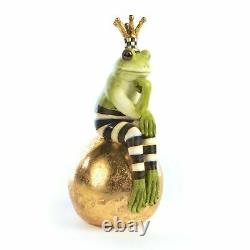 MACKENZIE-CHILDS FERGAL FROG ON GOLD LEAF BALL Hand-Painted Resin, NEW IN BOX