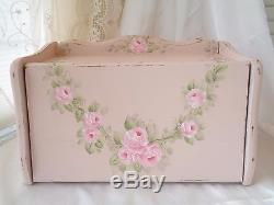 MOST ROMANTIC BREAD BOX hp roses chic shabby vintage cottage hand painted pink