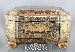 Magnificent Antique Chinese Gilded Hand Painted Treasure Box Circa Late 1700s