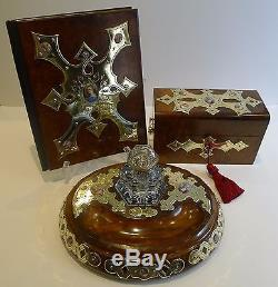 Magnificent & Grand French Three Piece Desk Set Hand Painted Porcelain Inset