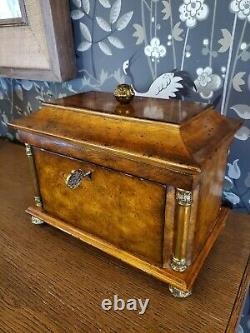 Maitland Smith Wood & Brass Hand Painted Jewelry Box, Lockable, Vintage