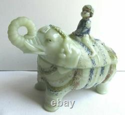 Milk glass box, painted opaline, signed Vallerysthal Mahout on elephant