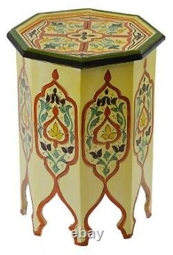 Moroccan Handmade Wood Table Side Delicate Hand Painted Dresser Exquisite Beige