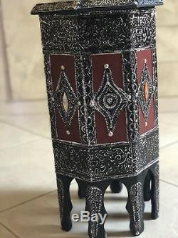 Moroccan Wood Side End Table Corner Coffee Handmade and Hand Painted