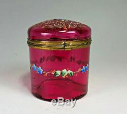 Moser Cranberry Glass Decorated Box