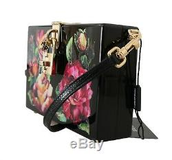 NEW $2600 DOLCE & GABBANA Bag Purse Hand Painted Wooden Roses BOX SICILY Leather