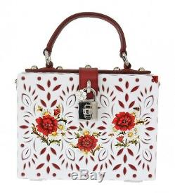 NEW $3400 DOLCE & GABBANA Bag Purse BOX Plexi White Red Floral Hand Painted