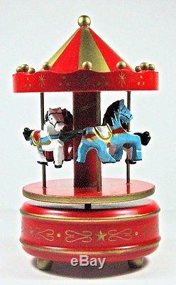 NEW Wood Horse Carousel Musical Box Hand Painted Wind Up Red Gold