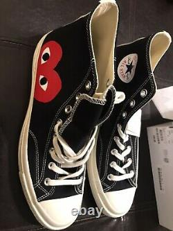 New In Box Mens Play Converse Comme Des Garcons Shoes High tops Size 11 Black