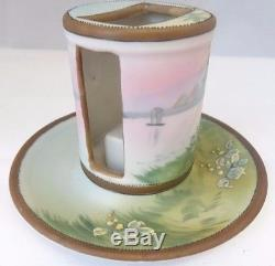 Nippon Hand Painted Palm Tree and Boats Match Box Holder