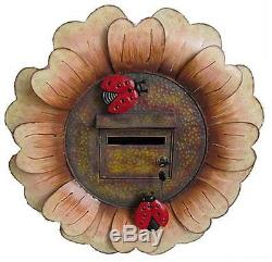 Novely Letter Box Flower w LadyBirds Hand painted Lockable Treated 42x53cm