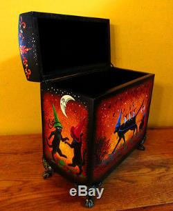 ORIGINAL OOAK HAND PAINTED HALLOWEEN BOX RYTA BLACK CAT WITCH Mouse CROW MOON HP