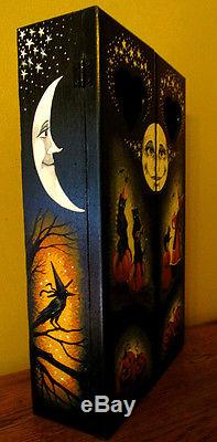 ORIGINAL OOAK HAND PAINTED HALLOWEEN BOX RYTA VINTAGE STYLE BLACK CAT WITCH OWLS