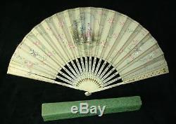 ORNATE ANTIQUE EARLY 1800's HAND PAINTED BOXED J. DUVELLEROY SILK FAN