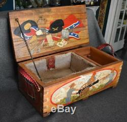 Ooak CIVIL War Reenactment Hand Painted Carved Wooden Camp Box Or Ammunition Box