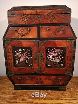 PRETTY VICTORIAN JAPANESE MARQUETRY TANSU CABINET + HANDPAINTED PANELS c1860