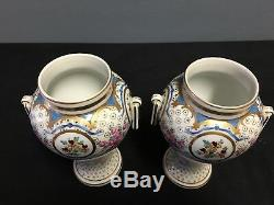 Pair Of Antique Dresden Porcelain (carl Thieme) Covered Urns Hand Painted