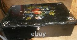 Papier Mache Laquered Mother of Pearl Inlaid Writing Slope / Box Hand Painted