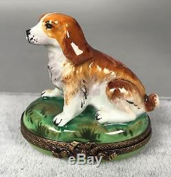 Parry Vieille Limoges Trinket Box Cocker Spaniel Hand Painted NEW 442