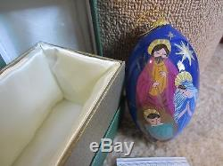 Pier 1 Hand Painted Li Bien Glass Teardrop Ornament 2014 Holy Family WithGift Box