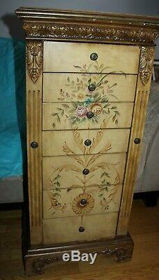 Powell Masterpiece Solid Wood With Hand Painted Stencil Jewelry Box Armoire