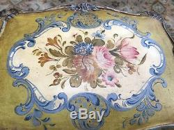 RARE Antique FRENCH TOLE/HAND-PAINTED GLOVE BOX JEWELRY TABLE LOUIS the 16th ERA