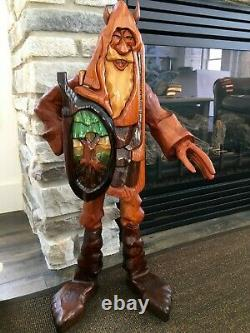 RARE! R. A. PITZ Hand Carved 1980's GIANT 29 Wood VIKING Sculpture with Hidden Box