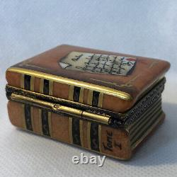 ROCAHRD Peint Main Limoge France Hand Painted BOOK with GLASSES Trinket Box