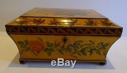 Rare Antique English Painted Sycamore Jewelry Box Hand Painted Flowers, c. 1815