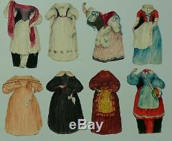 Rare Antique Handpainted French Paper Dolls 1839 Original Box Watercolour