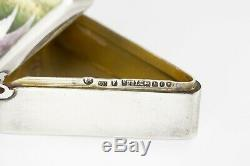 Rare English Sterling Silver Hand Painted Pill Box by Finnigans Ltd