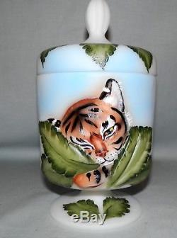 Rare Fenton Glass FAGCA Tiger Chessie Box painted CC Hardman only 12 made 2018