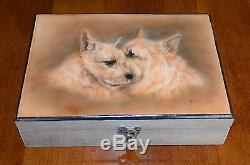 Rare Norwich Terrier Motif Hand-Painted Wood Box Signed by artist Darcie Olson