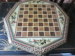 Rare Persian Hand Painted Chess Board And Chess Piece Box