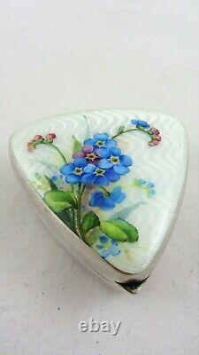 Rare Silver Pill Box Heinrich Levinger Hand painted Flowers on Guilloche 1902