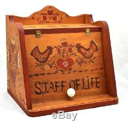 Rosemaling Wood Bread Box Red Brown County Chickens Hand Painted -Staff of Life