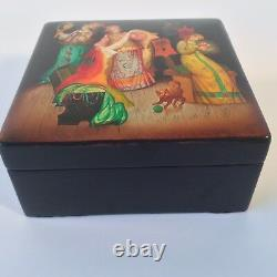Russian Black Lacquer 3 Sisters Hinged Trinket Box Hand Painted Fedoskino MCM