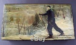Russian Fedoskino Hand Painted Lacquer Box Voroshilov Skiing c. 1939
