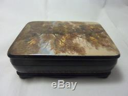 Russian Lacquer box Fedoskino. Golden Oak. Hand Painted