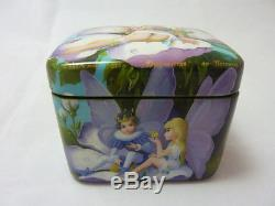 Russian Lacquer box Fedoskino Tale of Thumbelina. Hand Painted