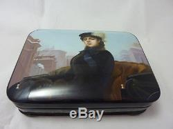Russian Lacquer box Fedoskino Unknown. Hand Painted