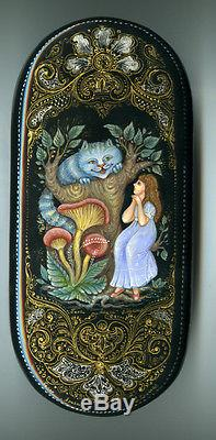 Russian Lacquer box Palekh. Alice. Hand Painted