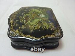 Russian Lacquer box Palekh. Frogs and dandelion. Hand Painted